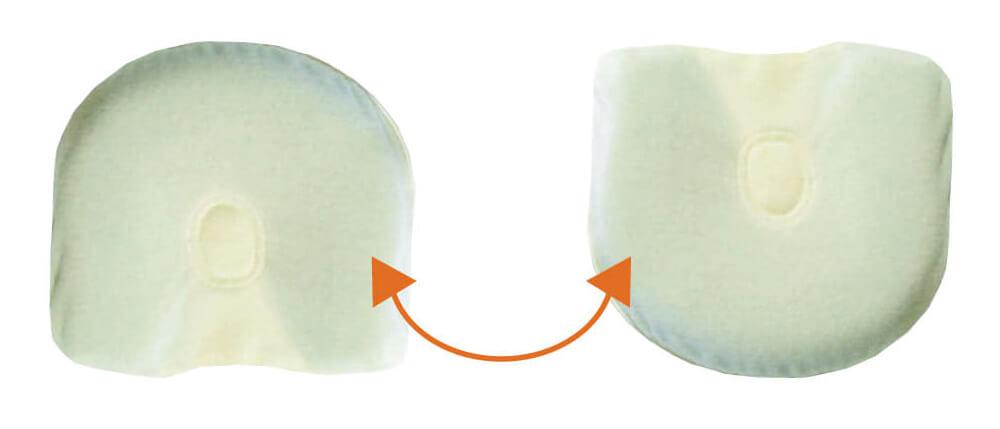 ベビー枕の上下向きを変えて利用も可能